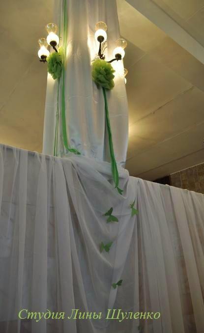 Белая зелено розовая яблочная свадьба